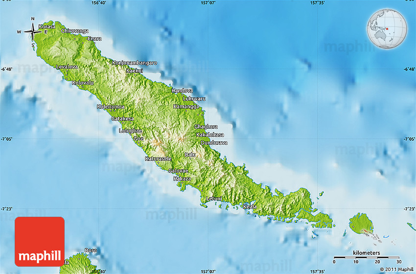 Physical Map of Choiseul