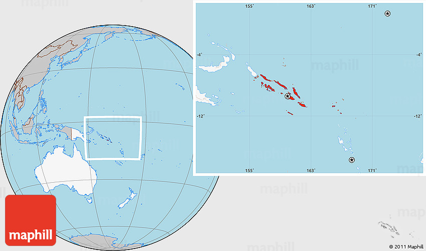Solomon Islands World Map.Gray Location Map Of Solomon Islands Highlighted Continent