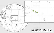 Physical Location Map of Solomon Islands, blank outside