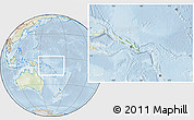 Physical Location Map of Solomon Islands, lighten