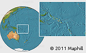 Physical Location Map of Solomon Islands, satellite outside