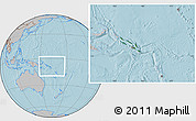Satellite Location Map of Solomon Islands, gray outside, hill shading