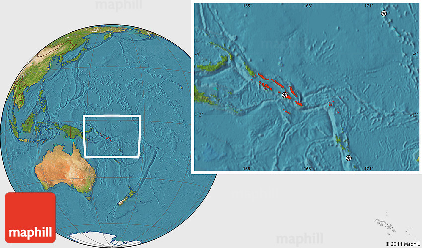 Satellite Location Map of Solomon Islands