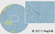 Satellite Location Map of Solomon Islands, savanna style outside, hill shading