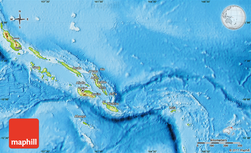 Physical Map of Solomon Islands