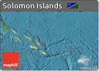 Free Physical Map of Solomon Islands satellite outside