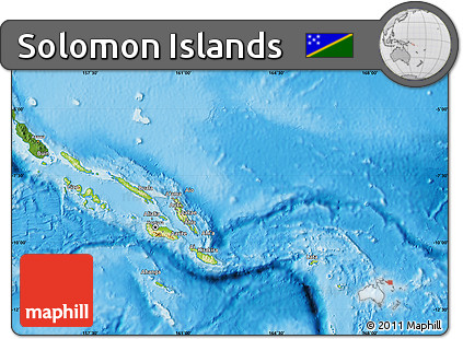 Free Physical Map of Solomon Islands satellite outside shaded