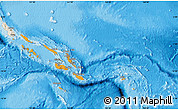 Political Shades Map of Solomon Islands, shaded relief outside, bathymetry sea