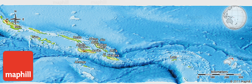 Physical Panoramic Map of Solomon Islands