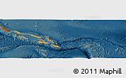 Political Panoramic Map of Solomon Islands, darken