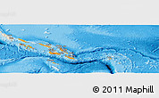Political Panoramic Map of Solomon Islands, shaded relief outside, bathymetry sea