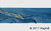 Political Shades Panoramic Map of Solomon Islands, darken