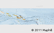 Political Shades Panoramic Map of Solomon Islands, lighten