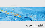 Political Shades Panoramic Map of Solomon Islands, physical outside