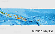 Political Shades Panoramic Map of Solomon Islands, satellite outside, bathymetry sea
