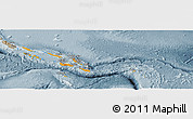 Political Shades Panoramic Map of Solomon Islands, semi-desaturated
