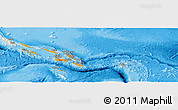 Political Shades Panoramic Map of Solomon Islands, shaded relief outside, bathymetry sea