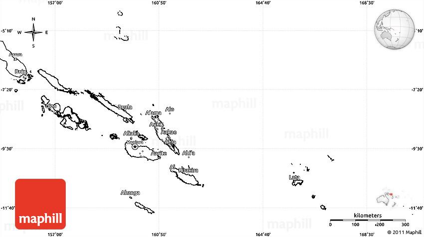 Blank Simple Map of Solomon Islands