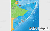 Political Shades 3D Map of Somalia