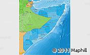 Political Shades 3D Map of Somalia