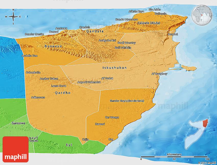 Political Shades Panoramic Map Of Bari - Bari map