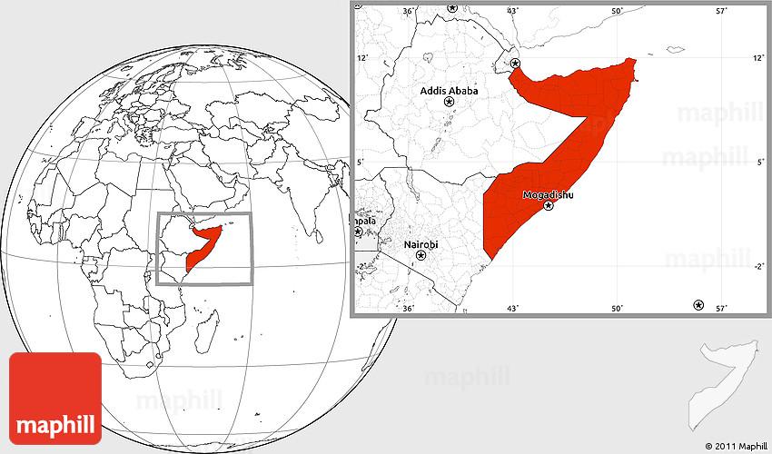 Blank Location Map of Somalia