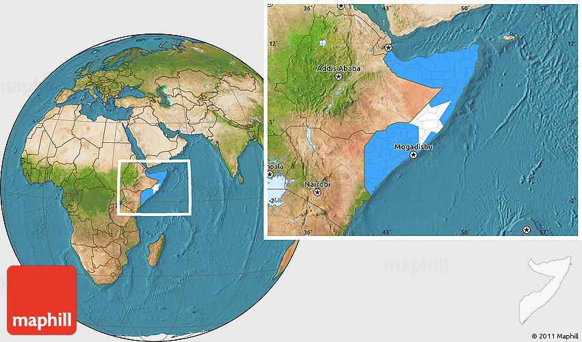 Flag Location Map of Somalia satellite outside