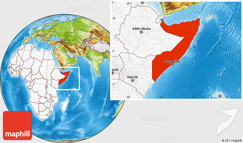 Physical Location Map of Somalia, highlighted continent
