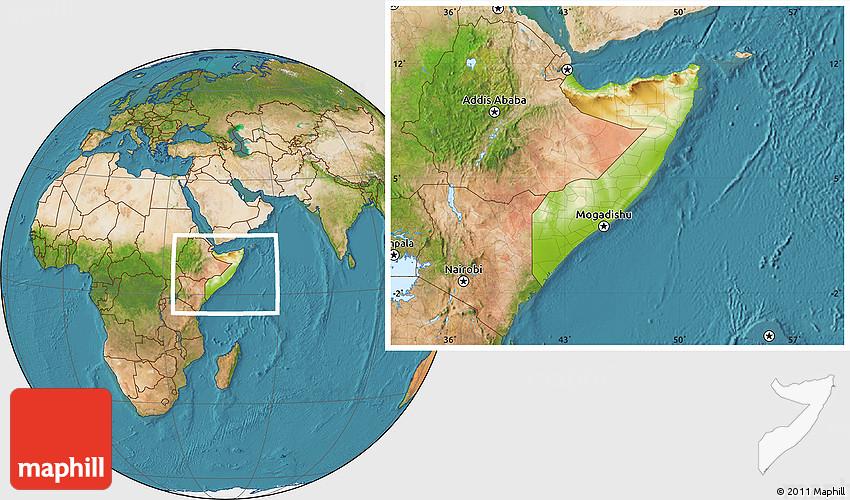 Physical Location Map of Somalia, satellite outside