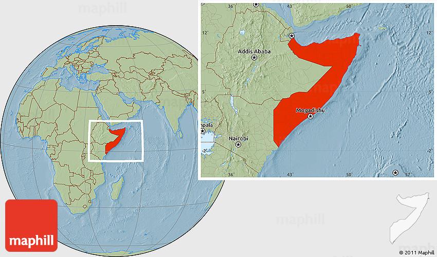 Savanna Style Location Map of Somalia, hill shading