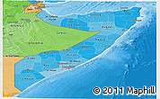 Political Shades Panoramic Map of Somalia