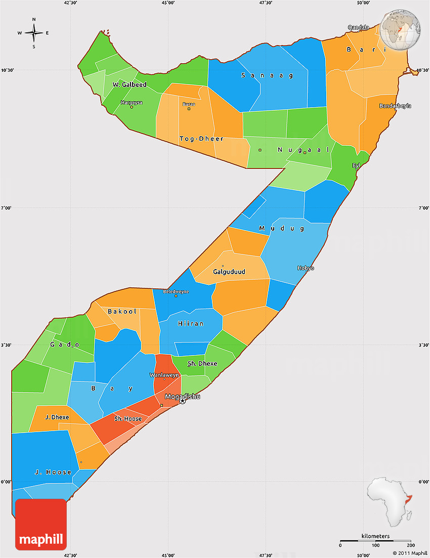 Political Simple Map Of Somalia Cropped Outside