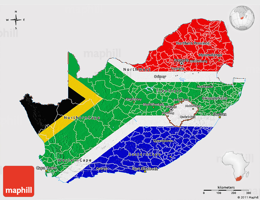 Flag 3D Map of South Africa