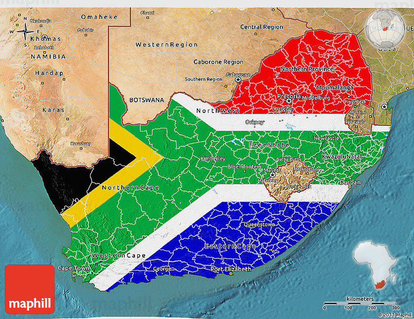 Flag 3D Map of South Africa, satellite outside