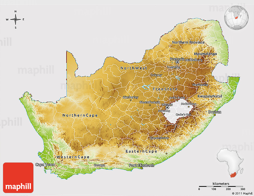 Physical 3D Map of South Africa, cropped outside