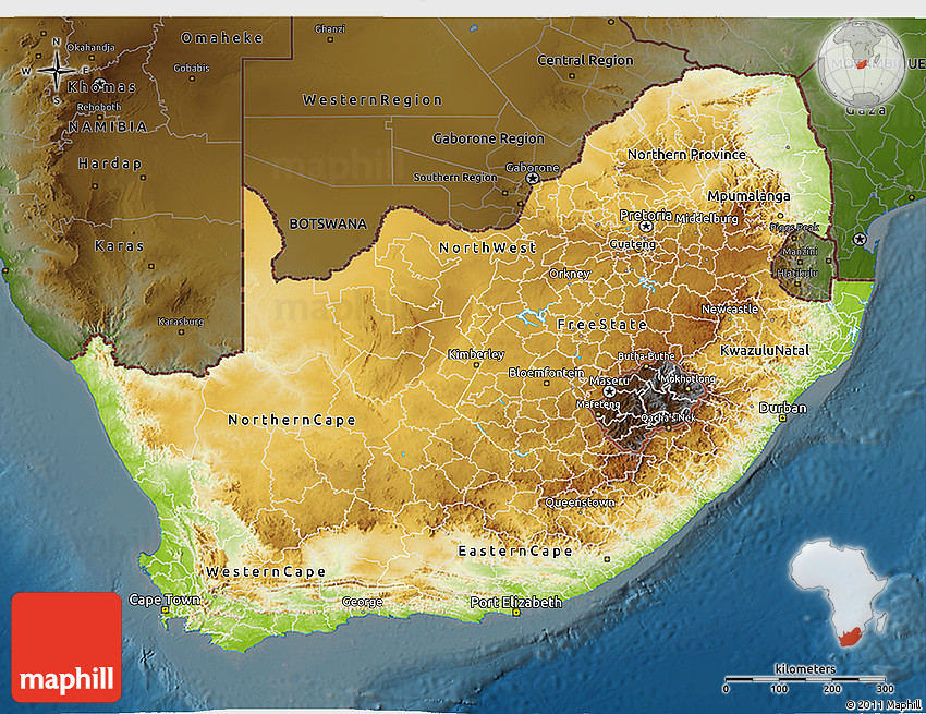 Physical 3D Map of South Africa darken
