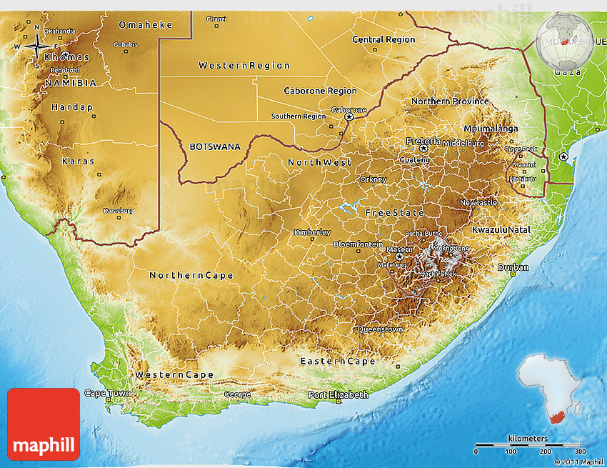 Physical 3d Map Of South Africa