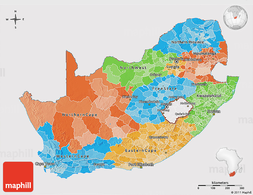 Political 3D Map of South Africa cropped outside