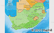 Political Shades 3D Map of South Africa
