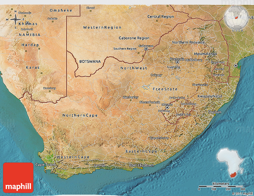 Satellite 3D Map of South Africa