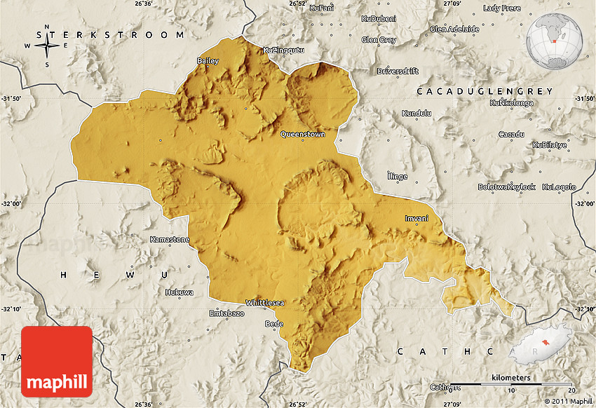 Physical Map of QUEENSTOWN, shaded relief outside