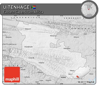 Free Silver Style Map of UITENHAGE