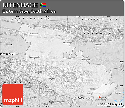 Free Silver Style Map of UITENHAGE