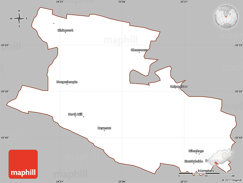Gray Simple Map of UITENHAGE cropped outside