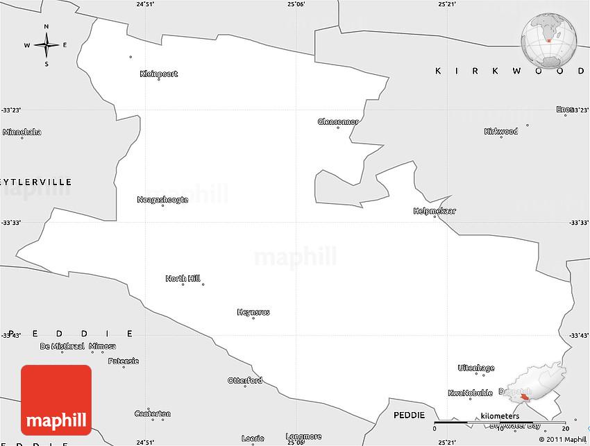 Silver Style Simple Map of UITENHAGE