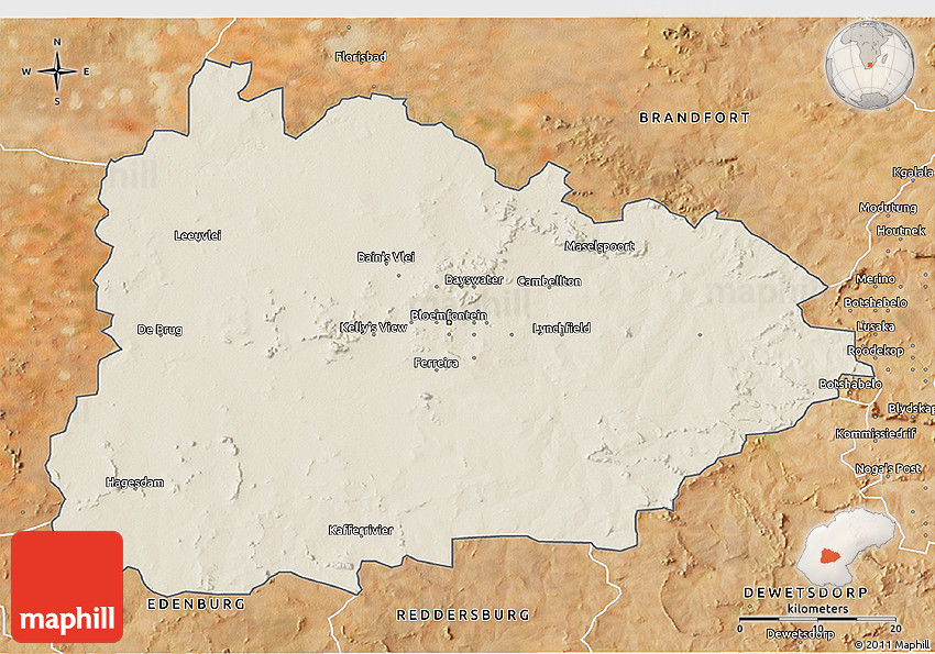 Shaded Relief 3D Map of BLOEMFONTEIN satellite outside