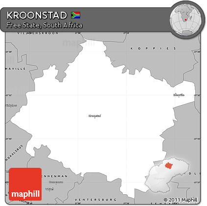 Free Gray Simple Map of KROONSTAD