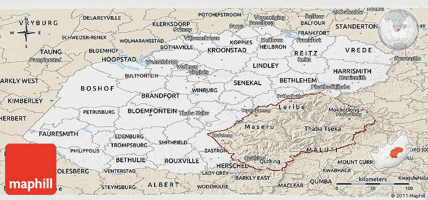 Classic Style Panoramic Map Of Free State