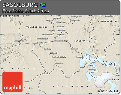 Free Shaded Relief Map of SASOLBURG