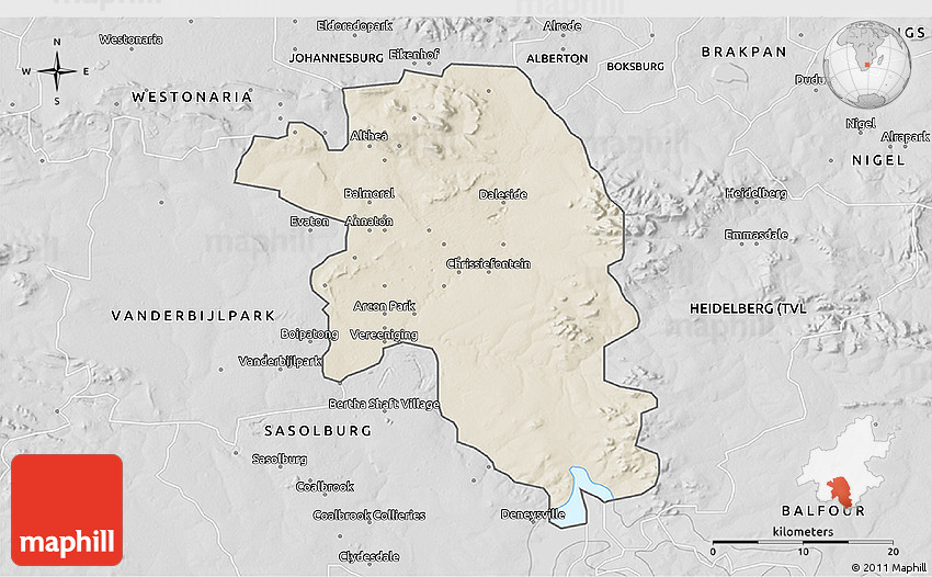 Shaded Relief 3D Map of VEREENIGING desaturated